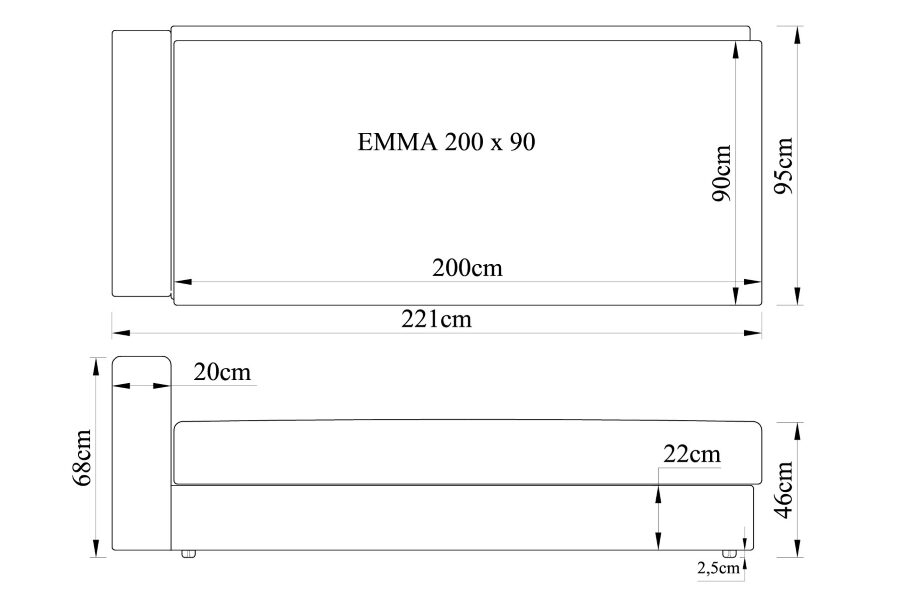 Gulta EMMA 200x90 ar audumu Stela, Salsa vai Aina