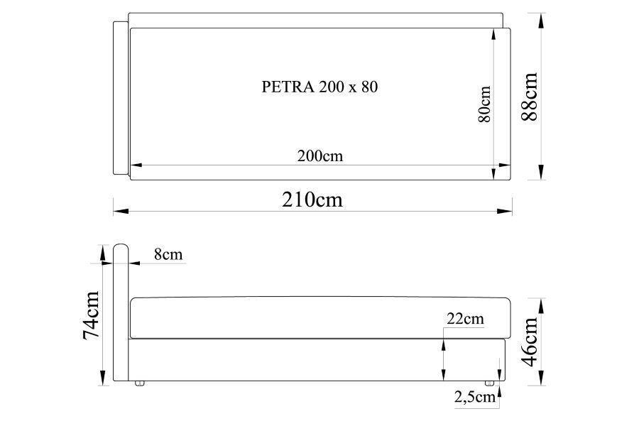 Gulta PETRA 200x80 bez spilveniem