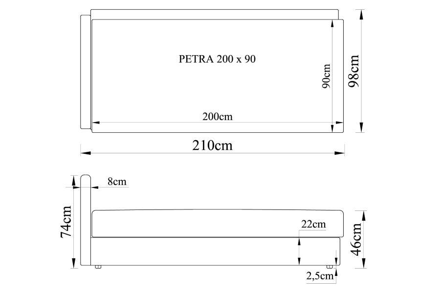 Gulta PETRA 200x90 ar spilveniem