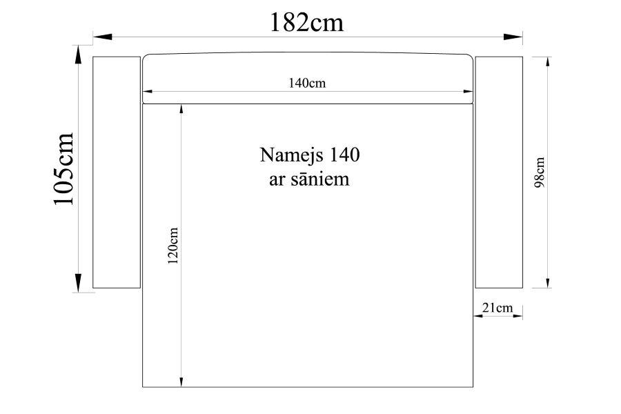 Dīvāns gulta NAMEJS-140 ar sāniem