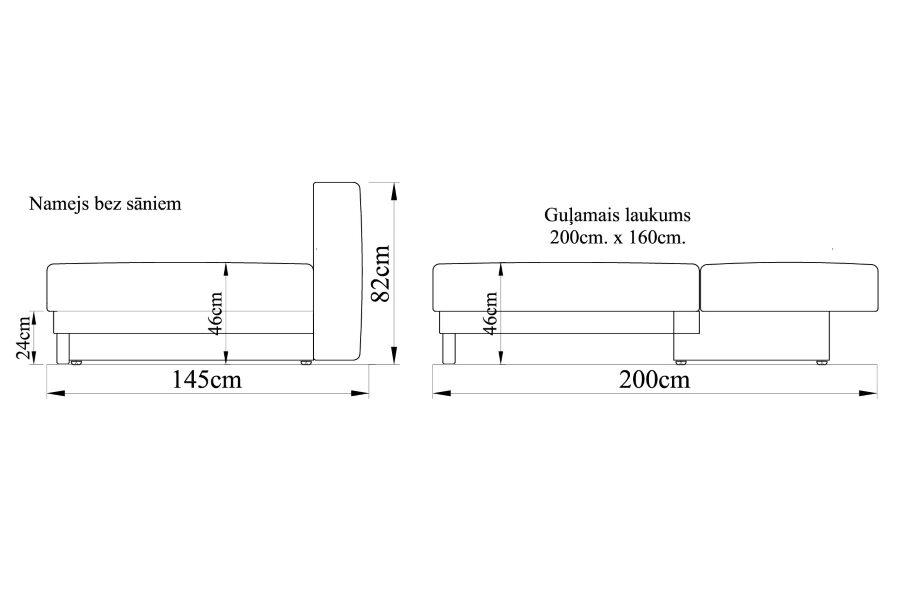 Dīvāns gulta NAMEJS-160 bez sāniem