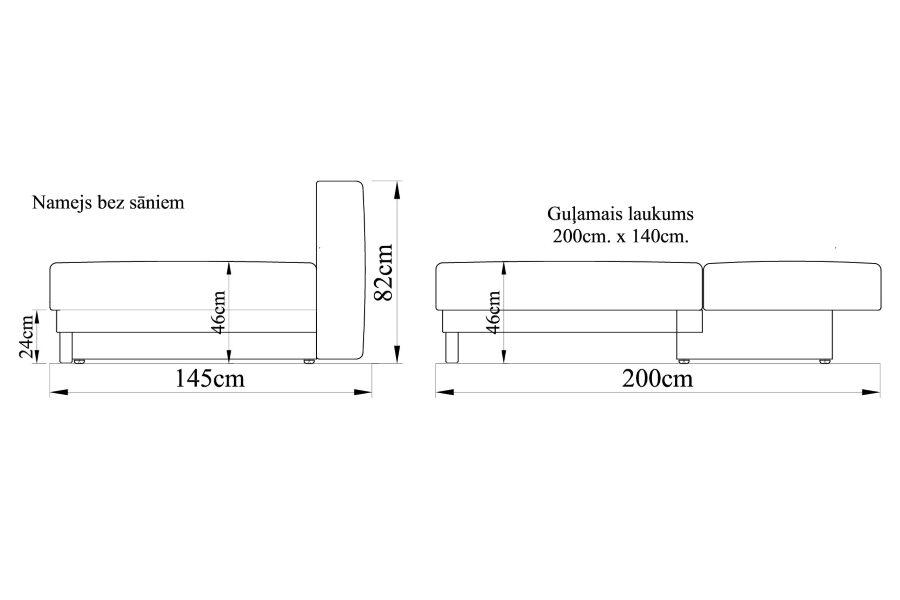 Dīvāns gulta NAMEJS-140 bez sāniem