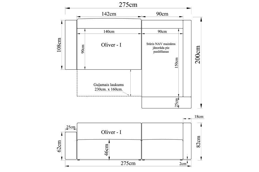 Stūra dīvāns OLIVER-I