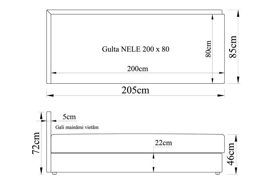 Gulta NELE 200x80 ar spilveniem